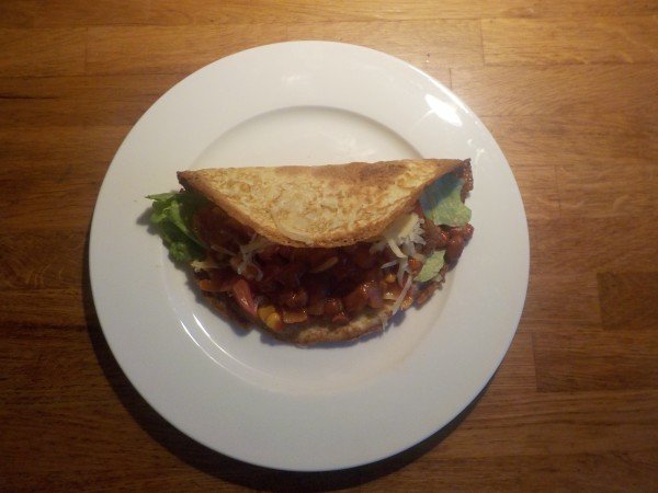 Homemade taco shell made from tortillas